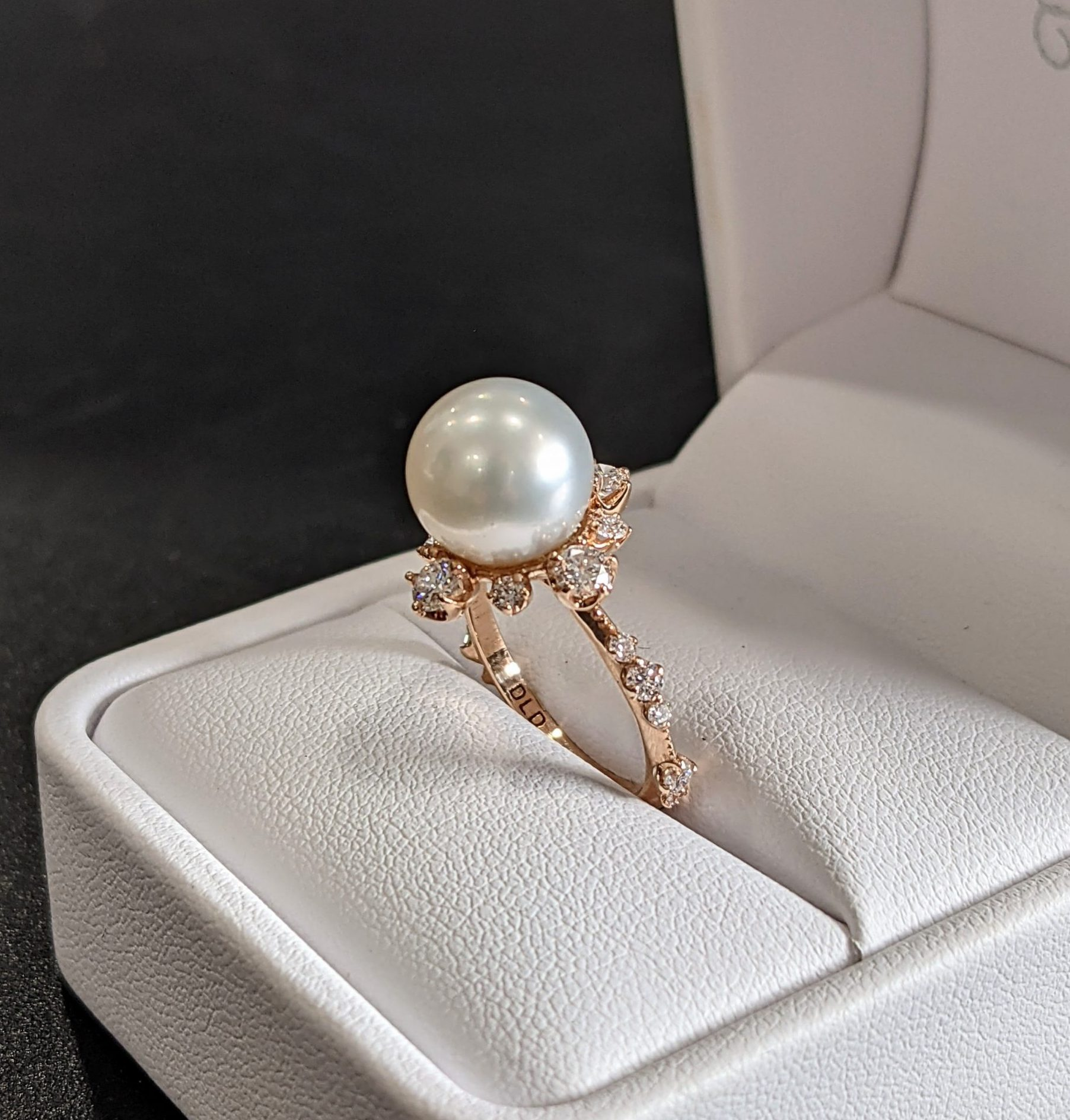 south sea pearl and diamond engagement ring
