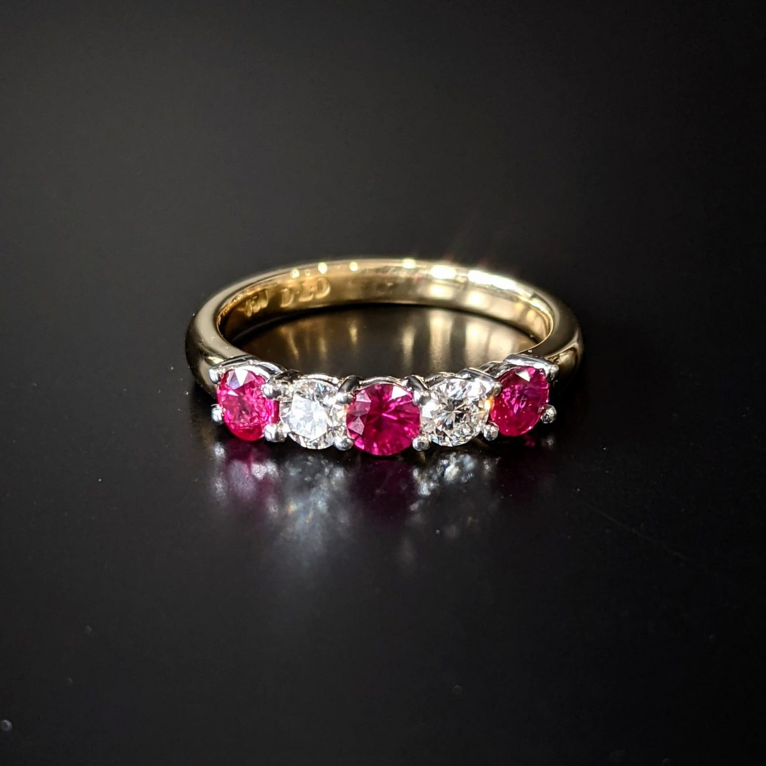 ruby and diamond 5 stone ring