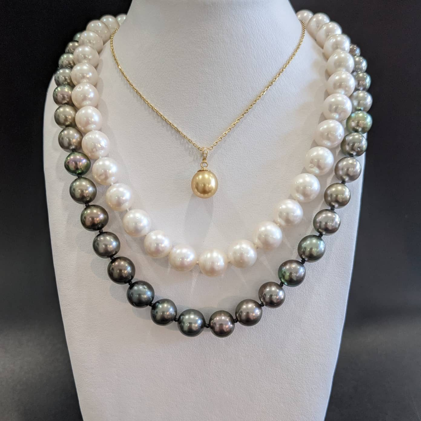 south sea pearl necklace strand. Tahitian pearl necklace strand. Gold south sea pearl and diamond pendant for women