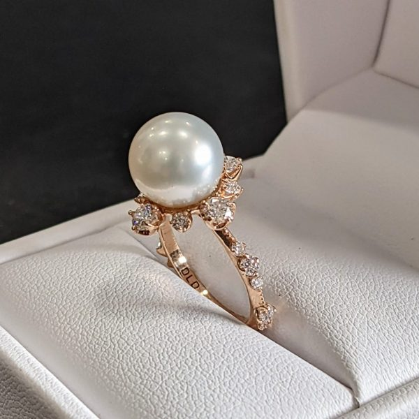 pearl and diamond engagement ring