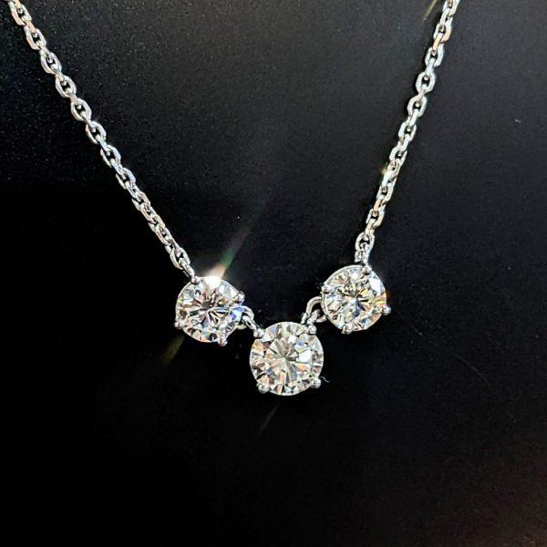 ladies three stone diamond necklace