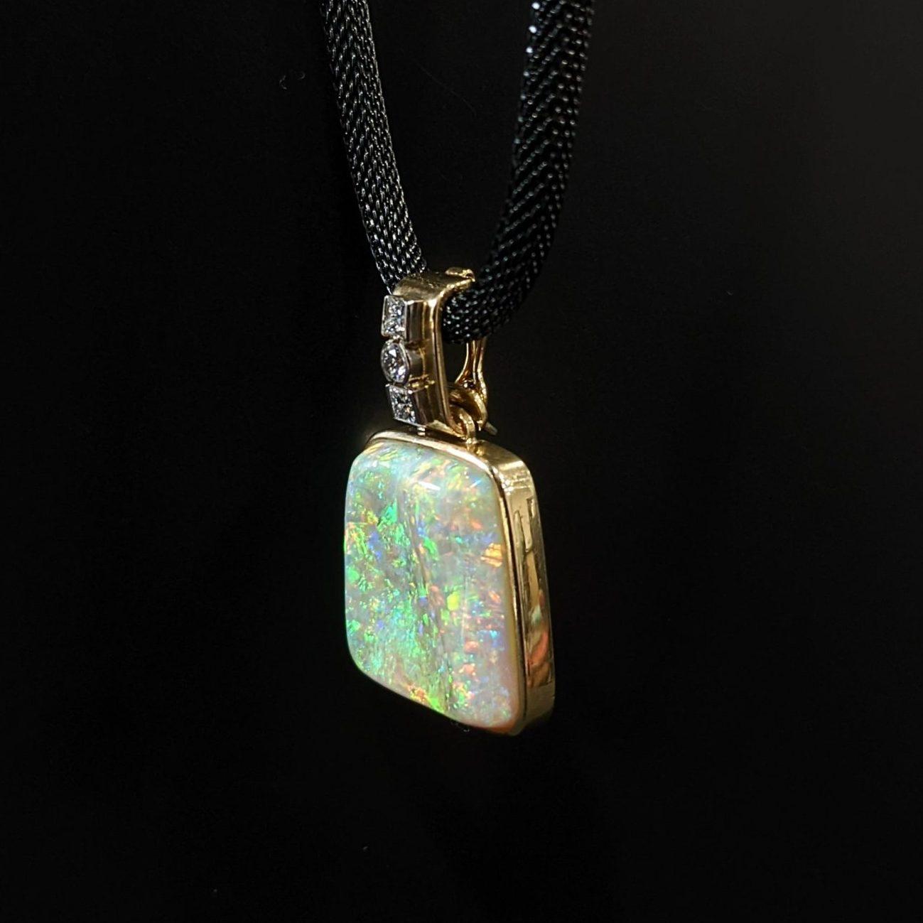 Australian white opal and diamond pendant for women