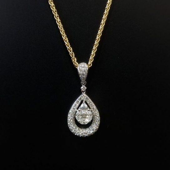 ladies diamond pendant and gold chain