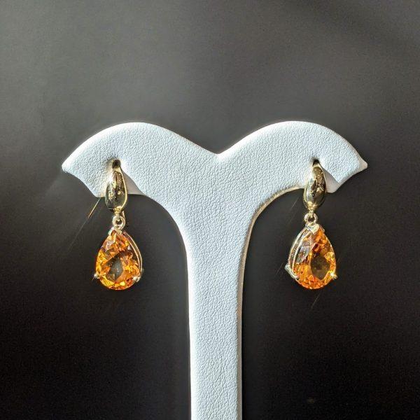 citrine pear shape earrings in yellow gold handmade in melbourne