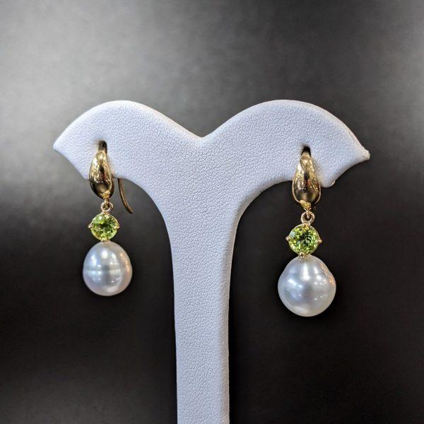 South sea pearl and peridot earrings