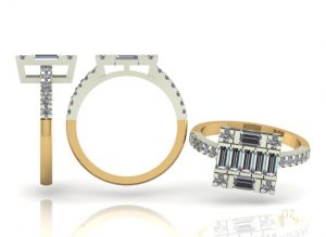 3D cad drawing of diamond ring
