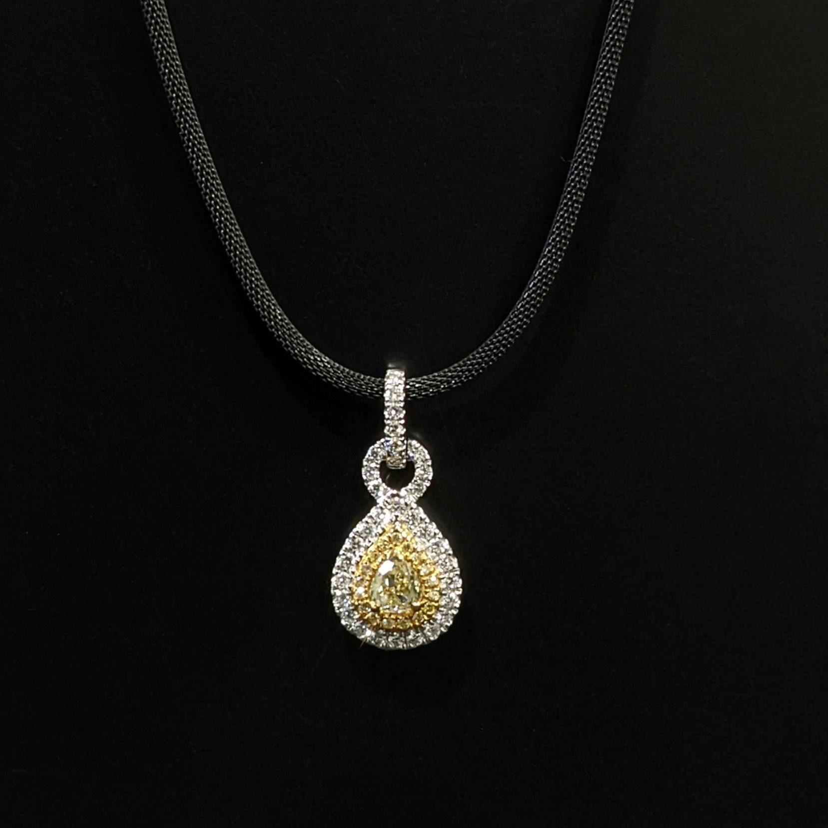 yellow diamond pendant and chain