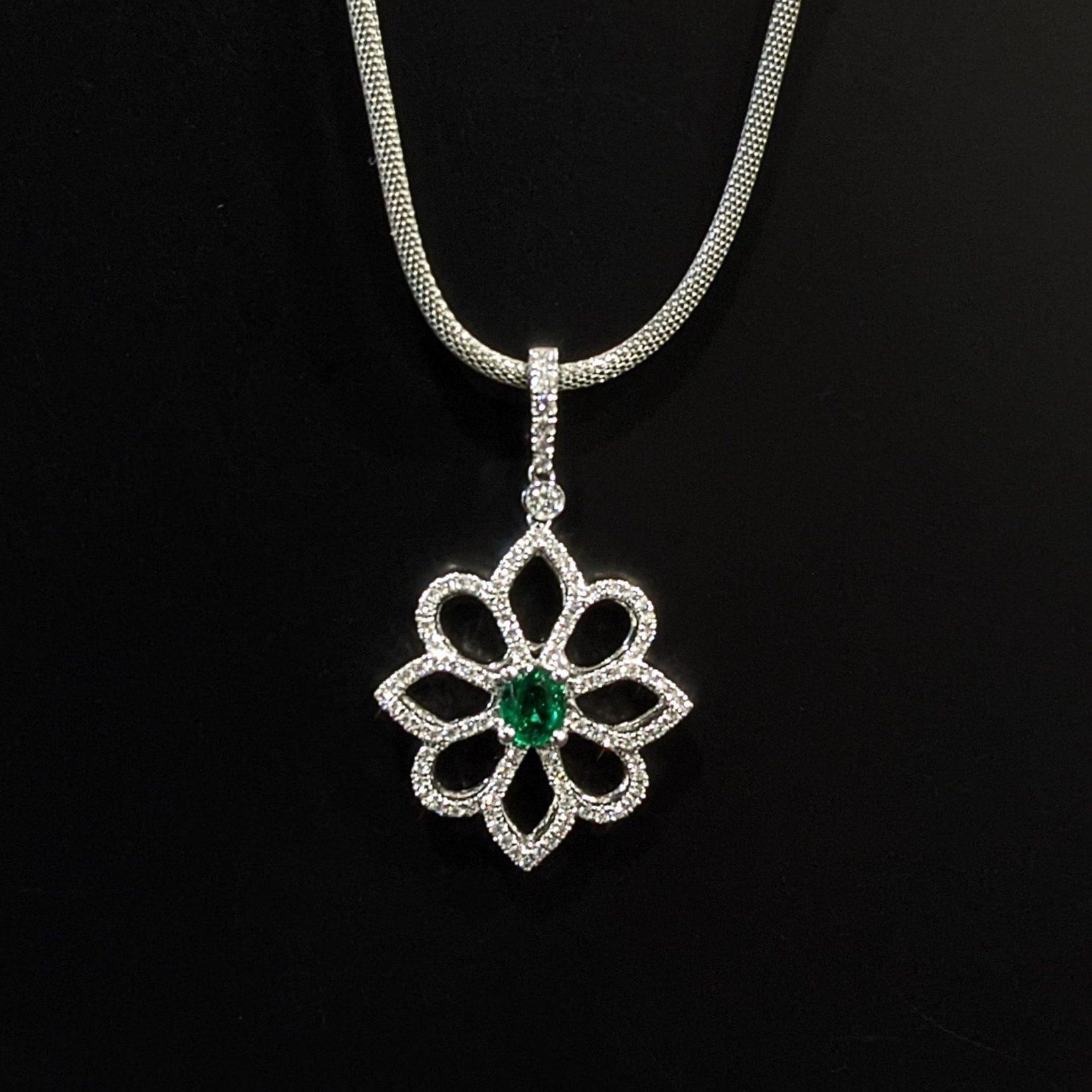 emerald and diamond ladies pendant