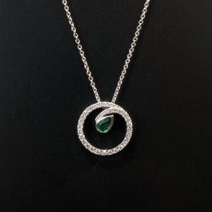 18ct white gold ladies emerald and diamond necklace