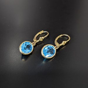 gemstone earrings for women featuring blue topaz and yellow gold handmade in melbourne