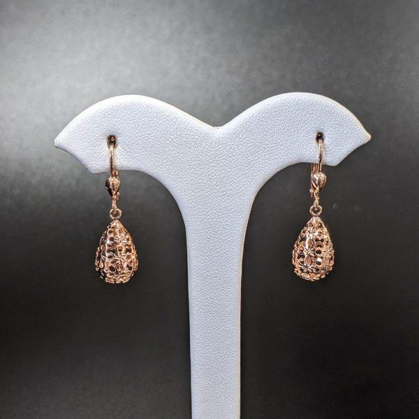rose gold filigree drop earrings for women