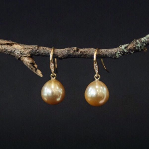 natural gold south sea pearl earring drops