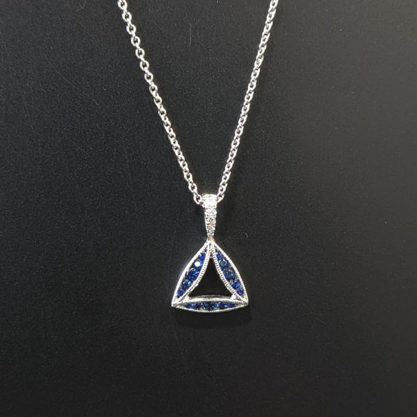 triangle sapphire and diamond necklace